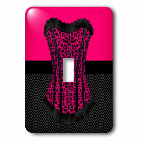 3dRose Pink and Black Cheetah Print Corset on Black Fishnet, Double Toggle Switch (Cheetah Print Light Switch Cover)