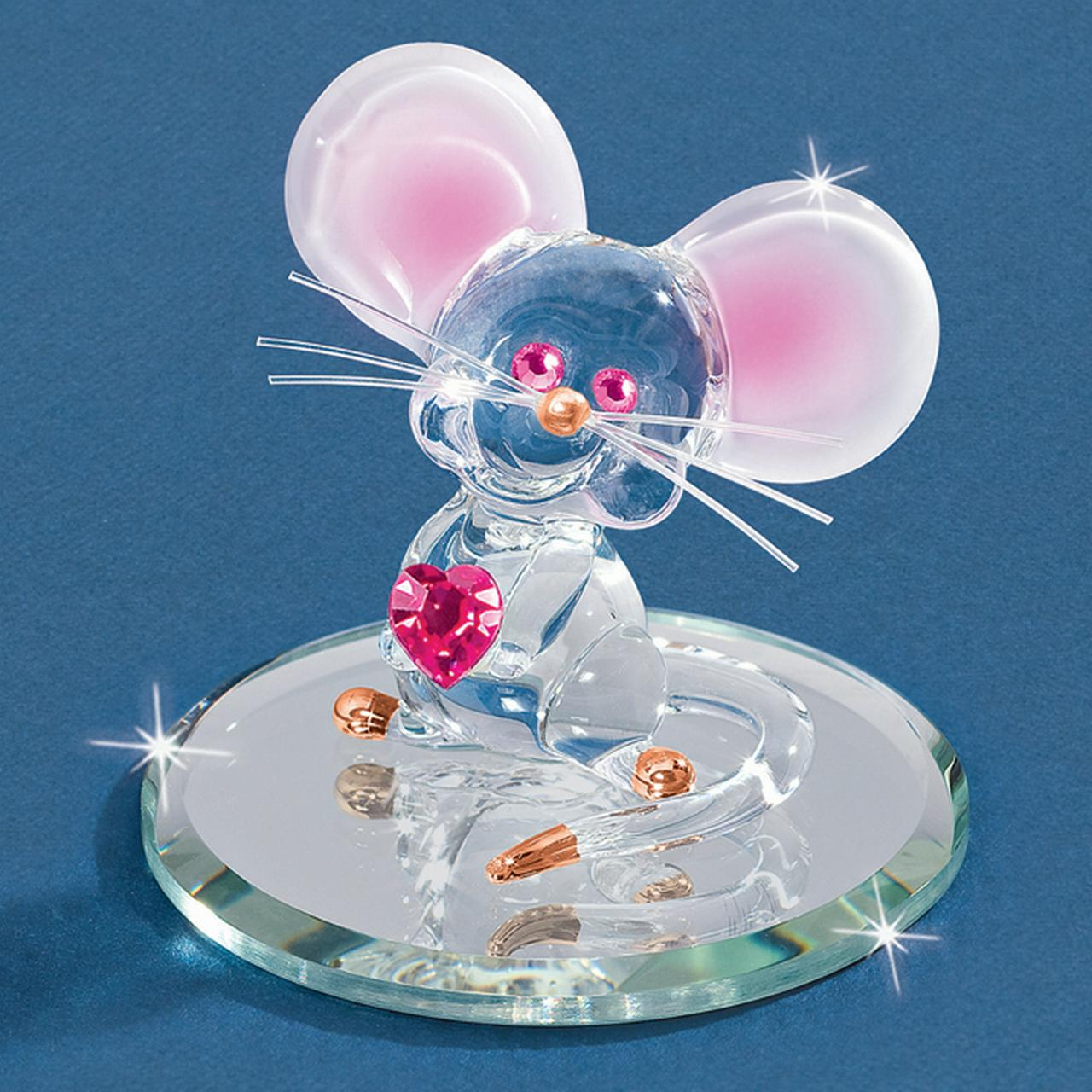 Too Cute Mouse Glass Figurine Pet Animal Glas Baron For Women