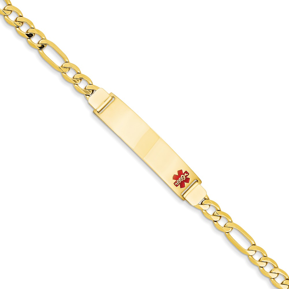 14k Yellow Gold Engravable 8in Medical Men's Jewelry Bracelet (Plate: 1.75in x 0.4in)