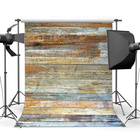 HelloDecor Polyster 5x7ft Grunge Wood Backdrop Shabby Chic Texture Graffiti Rustic Stripes Wooden Plank Photography Background Kids Adults Happy Birthday Party Decoration Photo Studio Props