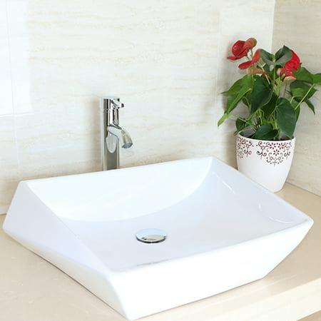 Bathroom Porcelain Ceramic Vessel Sink Chrome Faucet Combo PopUp - Popup with bathroom
