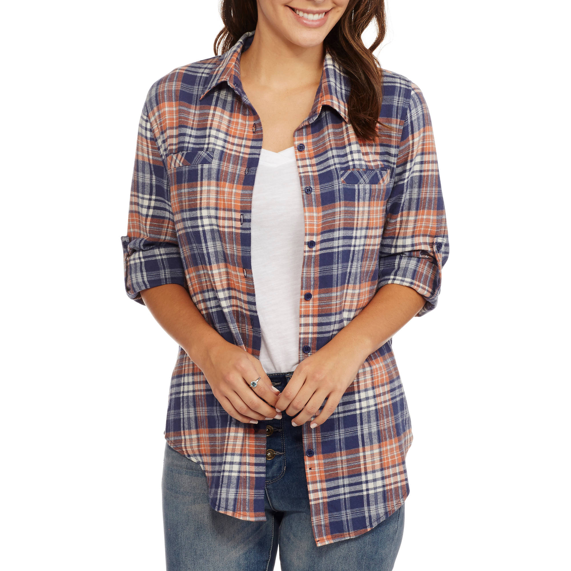 Brooke Leigh Women's Lightweight Flannel Shirt with Pockets
