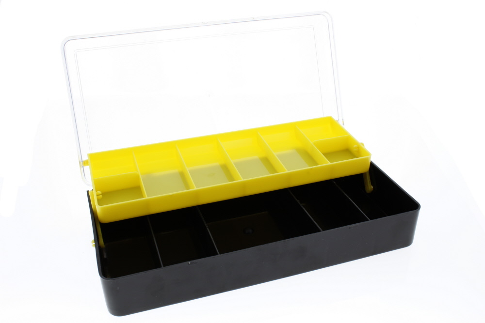 Yellow & Black Multi-Level Fishing Tackle Box with See thru Lid 13 Compartment Organizer By Direct 2 Boater by