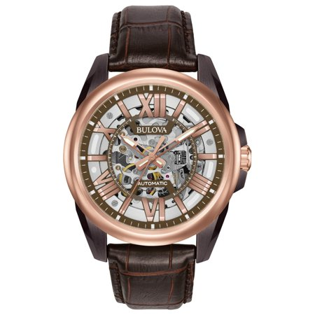 98A165 Men's Automatic Brown Skeleton Dial Brown Leather Strap Watch