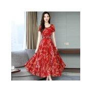 Women Short Sleeve A Line Long Dress Summer Boho Floral Print Party Beach Sundress