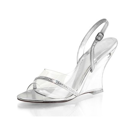 e1b9f5340fb5 SummitFashions - Womens Silver Wedge Shoes Sling Back Sandals 4 Inch Heels  Clear Strap and Heel - Walmart.com