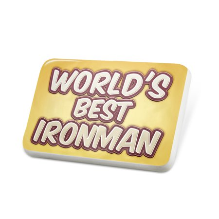 Porcelein Pin Worlds best Ironman, happy yellow Lapel Badge –