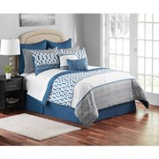 Mainstays Navy Trellis 12-Piece Bedding Comforter Set