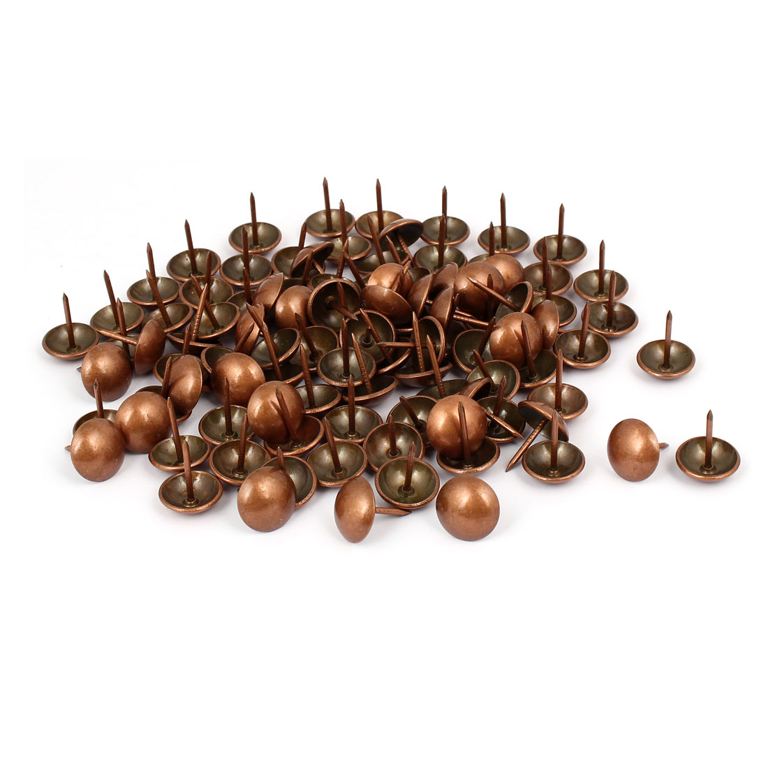 Unique Bargains Metal Upholstery Tack Push Nail Copper Tone 16mm Dia 100pcs for Furniture Decor