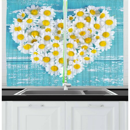 - Yellow and Blue Curtains 2 Panels Set, Heart Shaped Daisy Flowers Romantic Lovers Chamomile Blossoms Print, Window Drapes for Living Room Bedroom, 55W X 39L Inches, Sky Blue White, by Ambesonne