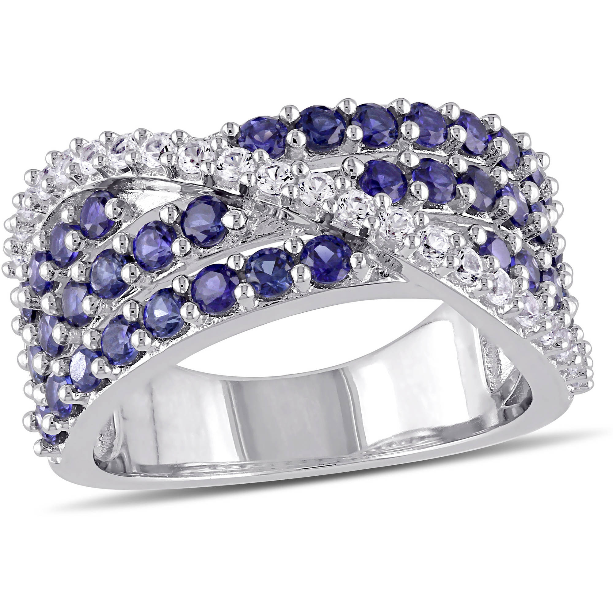 Tangelo 2-1/4 Carat T.G.W. Created Blue and White Sapphire Sterling Silver Cross-Over Anniversary Ring