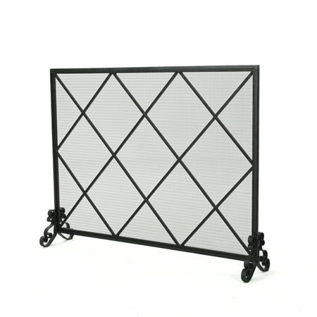 Hayden Single Panel Iron Fire Screen, - Forged Iron Single Panel Screen