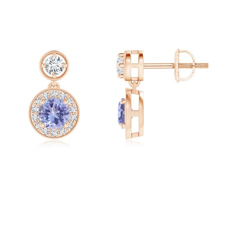 Mother's Day Jewelry Sale - Dangling Tanzanite and Diamond Halo Earrings with Milgrain in 14K Rose Gold (4mm Tanzanite) - SE1066TD-RG-AA-4