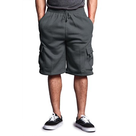 G-Style USA Men's Solid Fleece Cargo Shorts DFP1 - Charcoal -