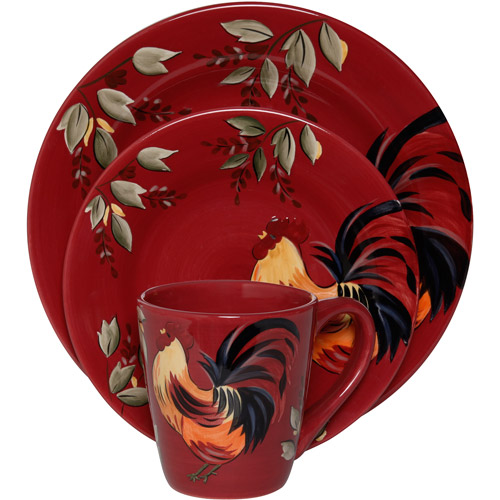 Gibson Everyday Rooster Villa 16-Piece Dinnerware Set Red  sc 1 st  Walmart.com : rooster dinnerware sets clearance - pezcame.com