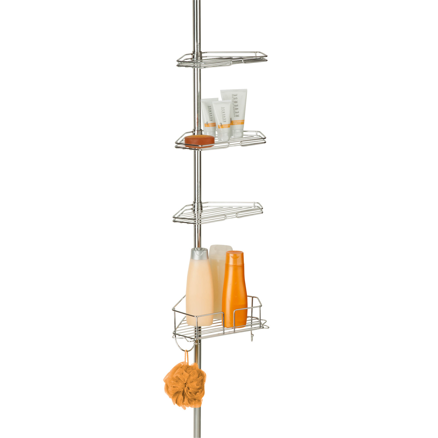 Honey Can Do Chrome Corner Tension Rod Shower Caddy by Honey Can Do