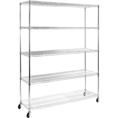 "Seville Classics 5-Tier UltraZinc NSF Steel Wire Shelving with Wheels, 60""W x 18""D x 72""H"
