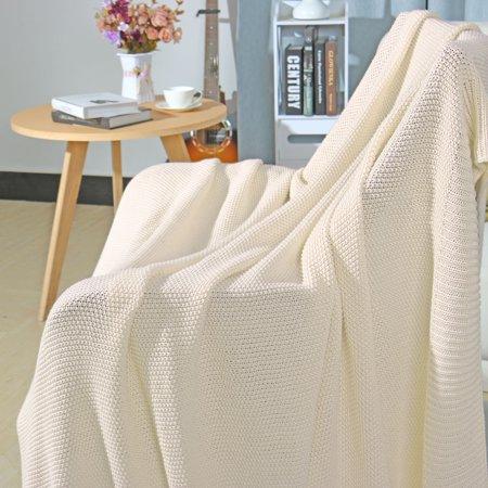 """knit blanket full size beige 70"""" x 78"""" - image 1 de 8"""