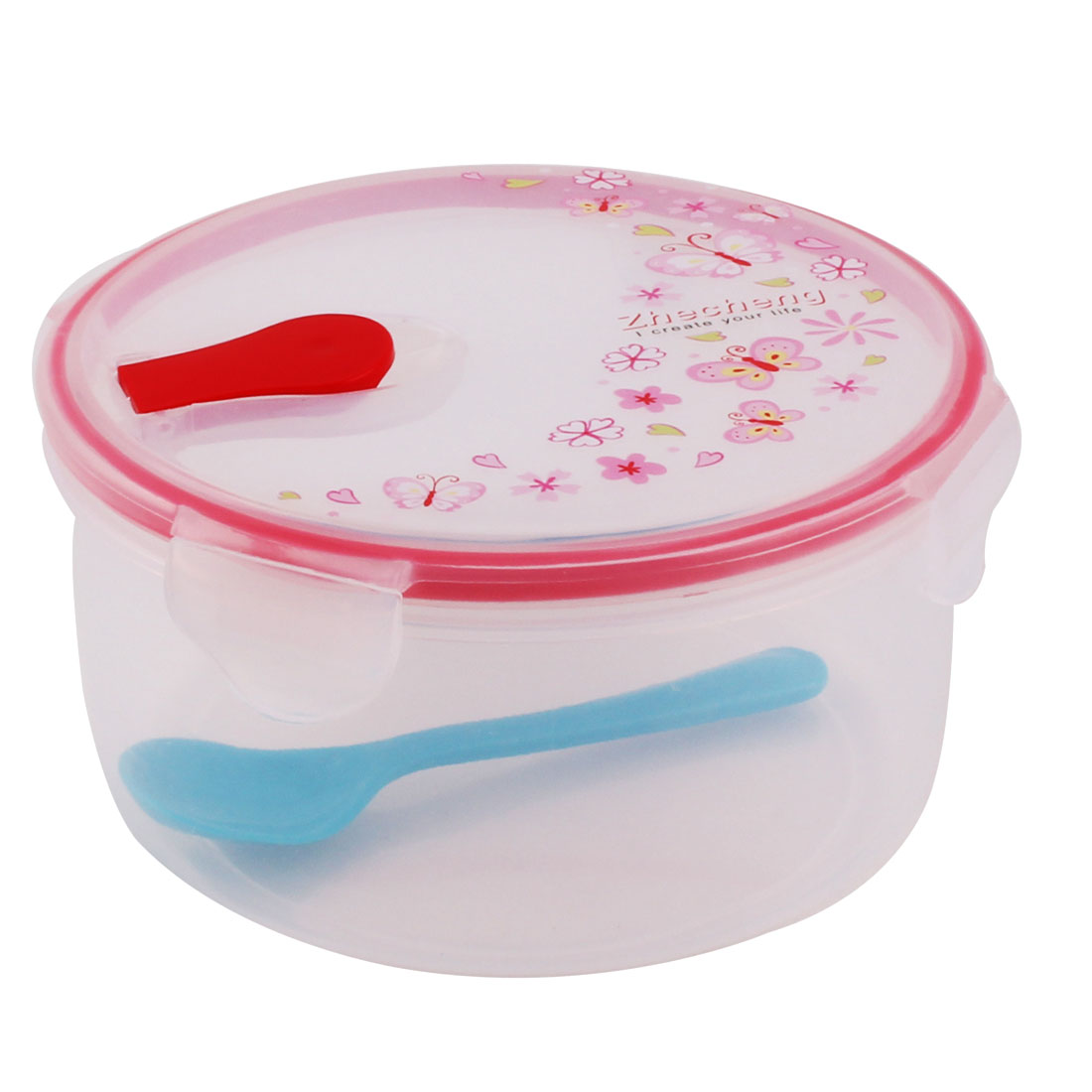 Outdoor Plastic Cylinder Flower Pattern Lunch Breakfast Food Holder Box Case Red
