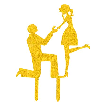 Party Acrylic Groom Courtship Shaped DIY Cupcake Decor Cake Topper Gold Tone - image 4 de 4