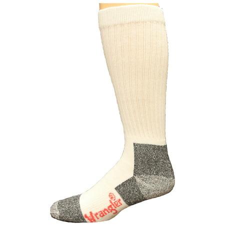 Wrangler Cotton Work Boot Sock Over the Calf 2 Pack, White, Men's 8.5-10.5 All Season Mid Calf Sock