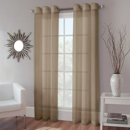 1 PANEL MIRA  SOLID TAUPE TAN  SEMI SHEER WINDOW FAUX SILK ANTIQUE BRONZE GROMMETS CURTAIN DRAPES 55 WIDE X 84