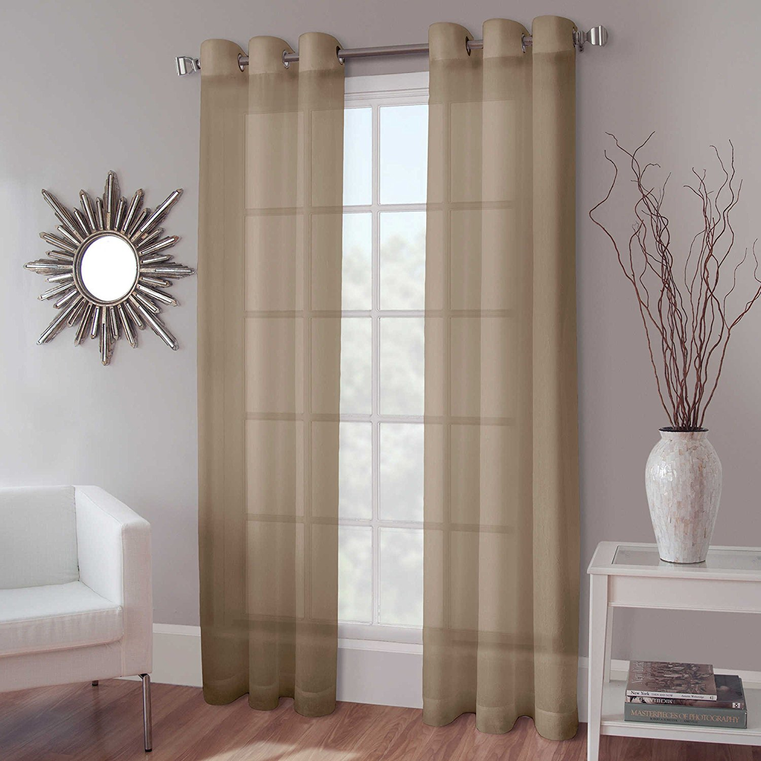 "1 PANEL MIRA  SOLID TAUPE TAN  SEMI SHEER WINDOW FAUX SILK ANTIQUE BRONZE GROMMETS CURTAIN DRAPES 55 WIDE X 63"" LENGTH"