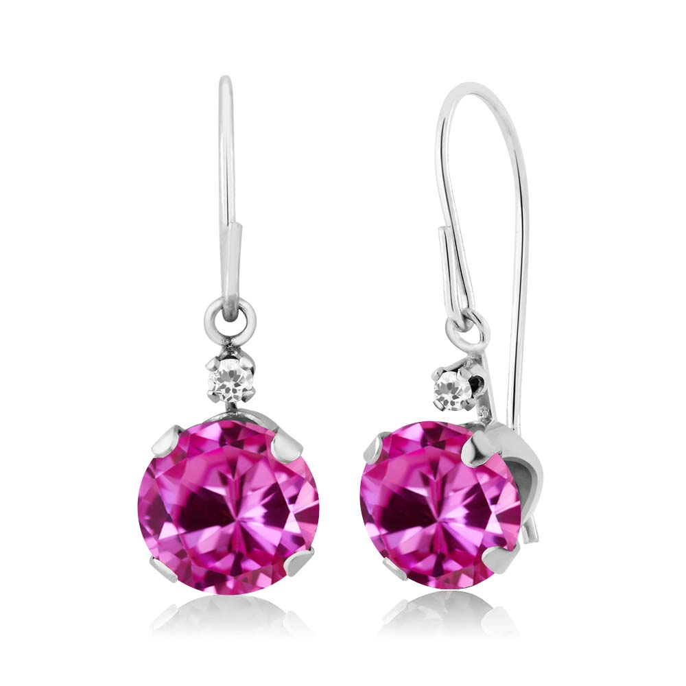 2.02 Ct Round Pink Created Sapphire White Sapphire 14K White Gold Earrings