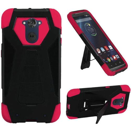 Insten Hard Hybrid Shockproof Plastic Silicone Cover Case with Stand For Motorola Droid Turbo 2 - Black/Hot Pink