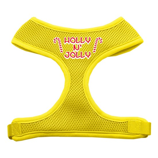 Holly N Jolly Screen Print Soft Mesh Harness  Yellow Large