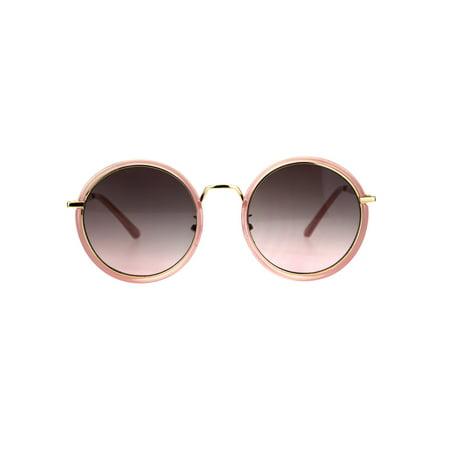 Womens Double Rim Round Circle Lens Mod Designer Sunglasses Pink (Pink Circle Sunglasses)
