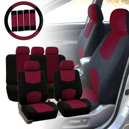 FH Group Car Seat Covers Flat Cloth for Sedan, SUV, Van, Full Set w/ Steering Cover & Belt Pads, Burgundy Black Flexi Van Flat Car