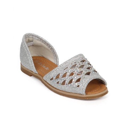 Link DF03 Glitter Studded Hollow Out Peep Toe D'orsay Flat (Toddler / Little Girl / Big Girl)