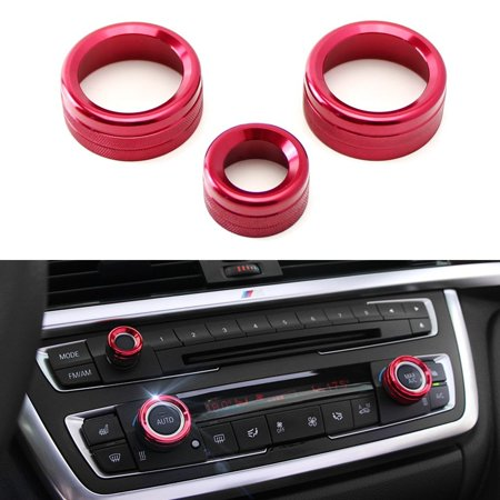 Climate Control Knobs - iJDMTOY 3pcs Anodized Aluminum AC Climate Control and Radio Volume Knob Ring Covers For BMW 1 2 3 3GT 4 Series (F20 F22 F30 F31 F32 F33 F80 F82 F87) (For BMW 1 2 3 3GT 4 Series, Red)