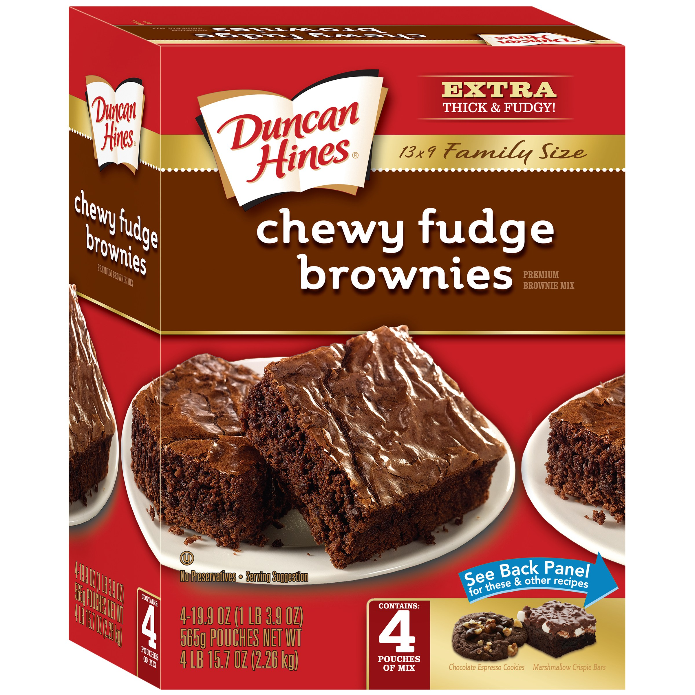 (4 Pack) Duncan Hines Family Size Chewy Fudge Brownie Mix, 19.9 oz