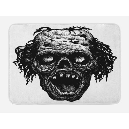 Halloween Scary Monsters (Halloween Bath Mat, Zombie Head Evil Dead Man Portrait Fiction Creature Scary Monster Graphic, Non-Slip Plush Mat Bathroom Kitchen Laundry Room Decor, 29.5 X 17.5 Inches, Black Dark Grey,)