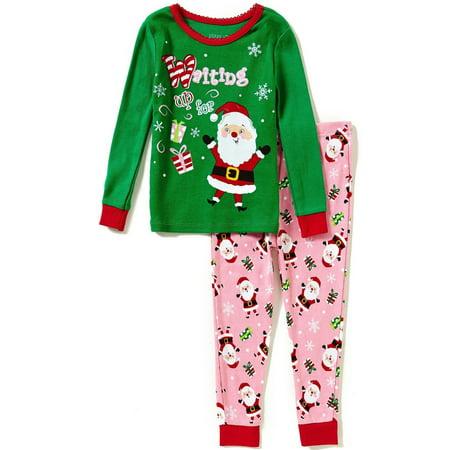 Komar Kids Happy Santa Girls Cotton Pajama Set, Toddler Sizes 2T-4T, Santa, Size: 4T - Santa Pajamas Kids