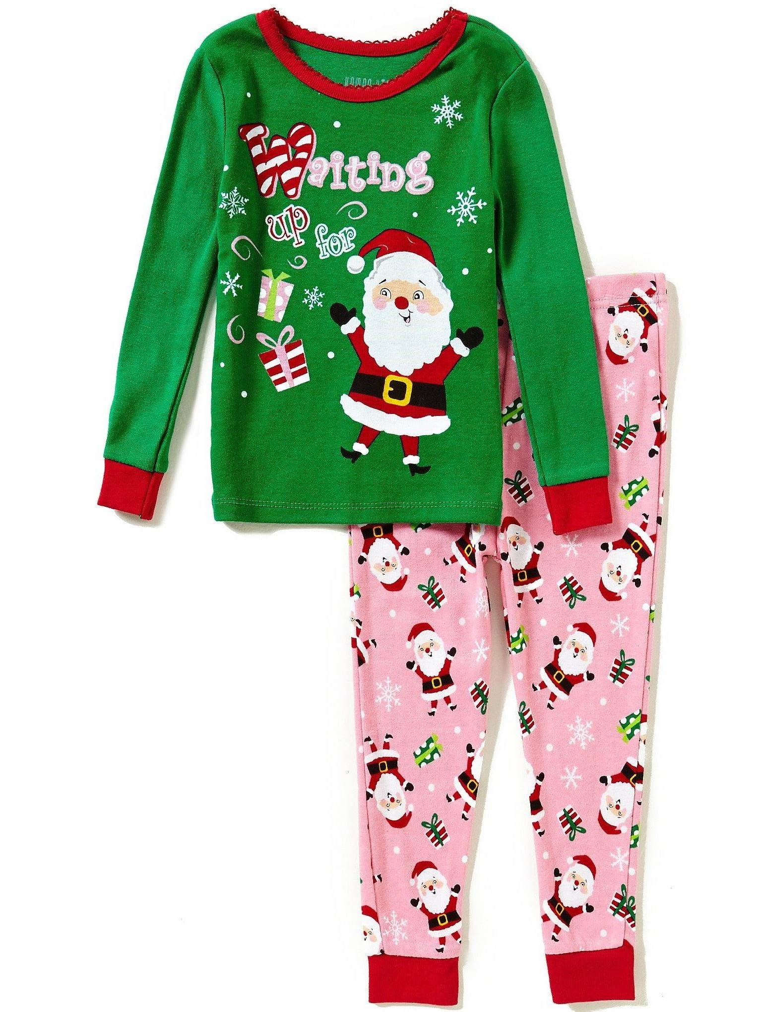 Komar Kids Happy Santa Girls Cotton Pajama Set, Toddler Sizes 2T-4T, Santa, Size: 4T