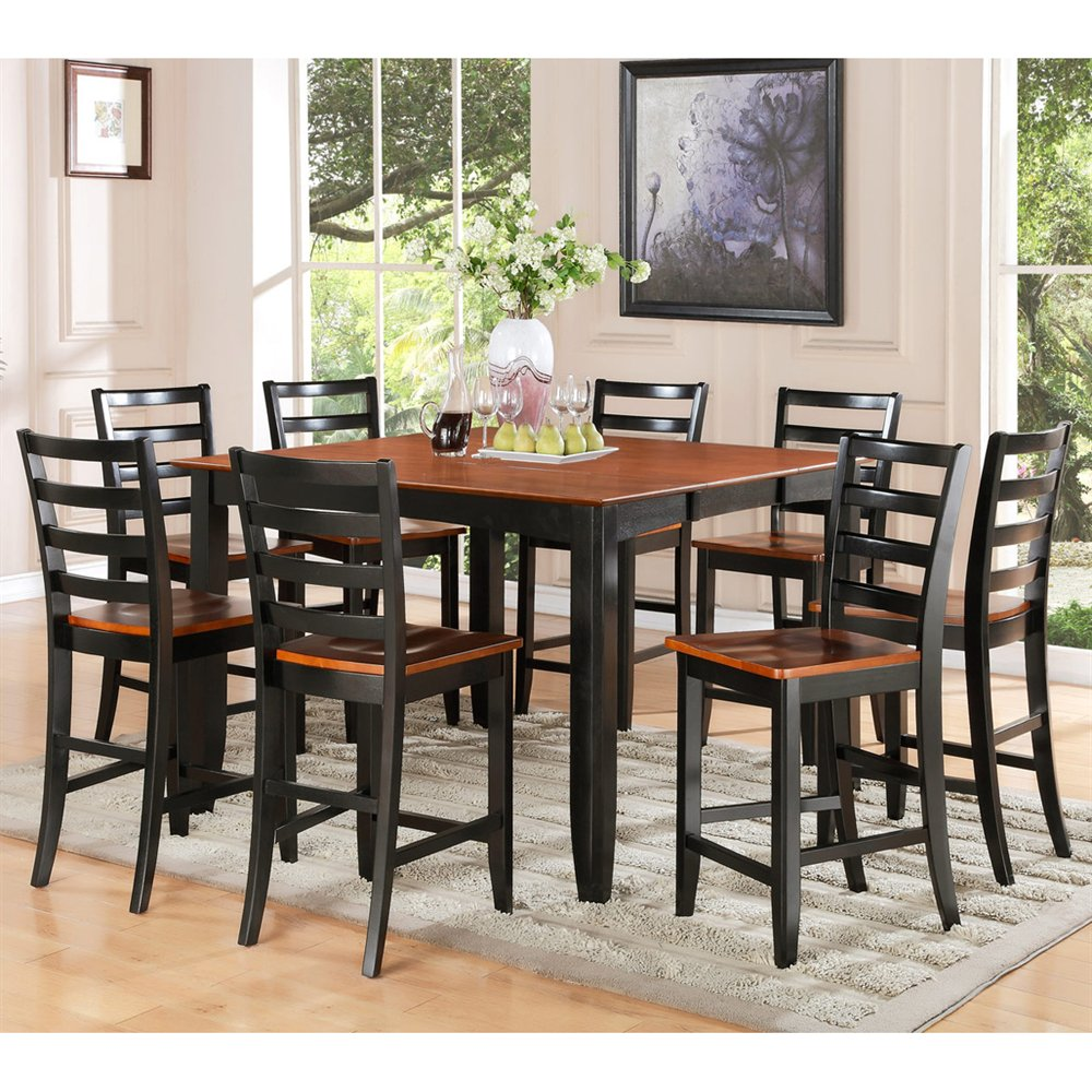 Fair9 Blk W 9 Piece Pub Table Set Square Counter Height
