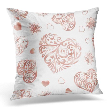 cmfun red beautiful love heart in rose gold colors white colored pillow case pillow cover 20x20. Black Bedroom Furniture Sets. Home Design Ideas
