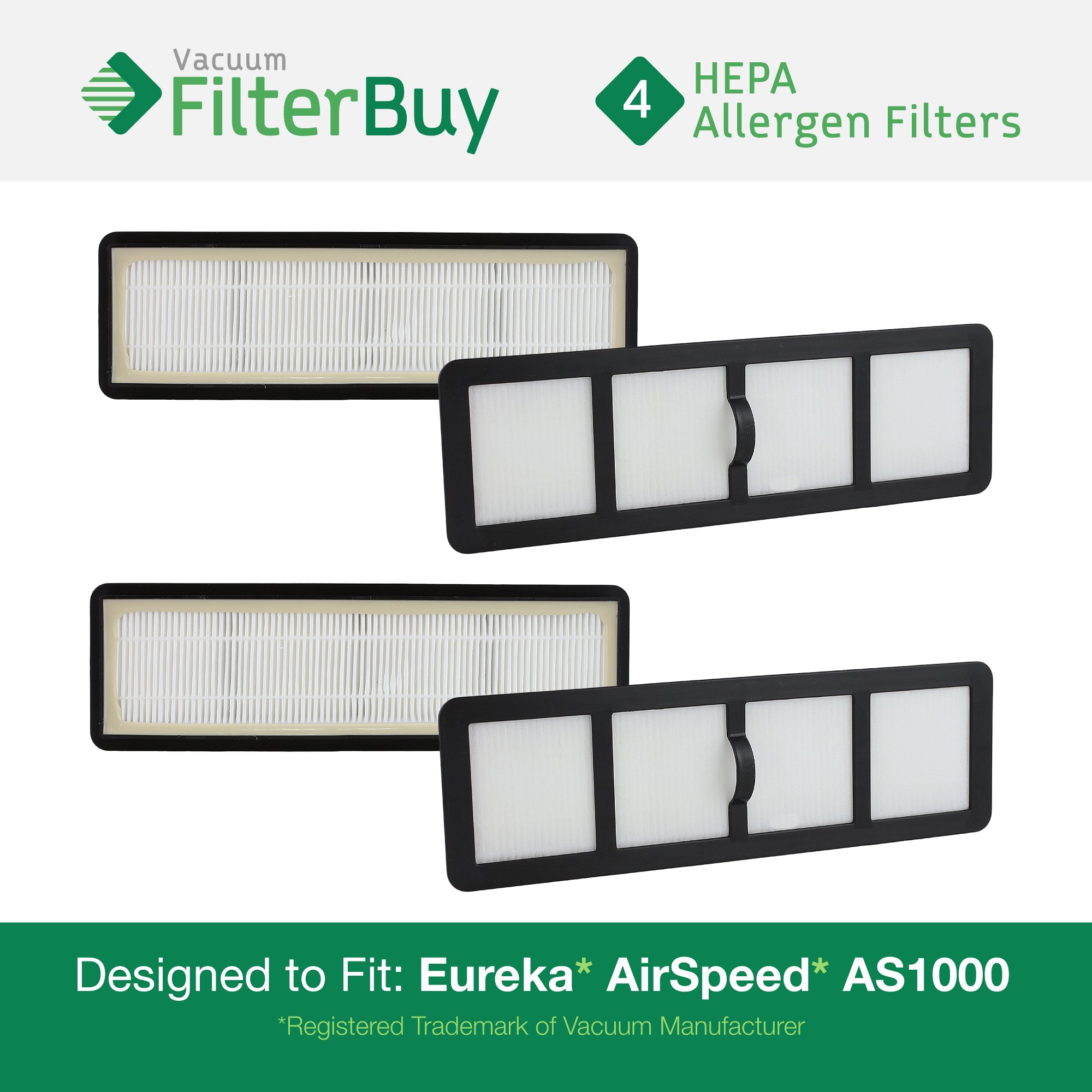 4 - Eureka Airspeed EF6 (EF-6) HEPA Replacement Filters, Part # 83091-1. Designed by FilterBuy to fit Eureka Airspeed AS1000 Upright Vacuums