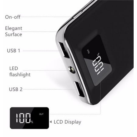 - 20,000mAh HIgh Speed Digital Power Bank FAST CHARGER Portable Ultra High Capacity 3.4A 2-Port USB +Led Flashlight External Battery Backup, For All Cell / Smart Phone Tablet Laptop Iphone Galaxy & More