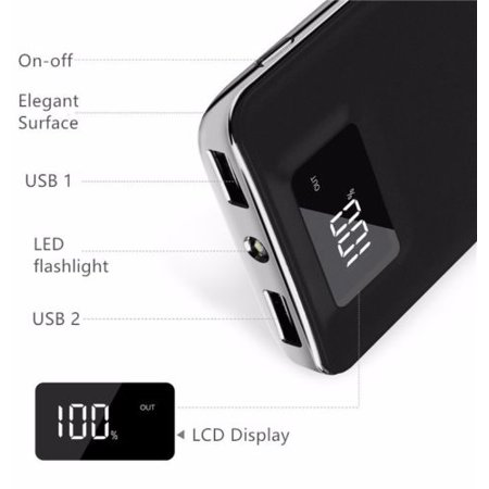 20,000mAh HIgh Speed Digital Power Bank FAST CHARGER Portable Ultra High Capacity 3.4A 2-Port USB +Led Flashlight External Battery Backup, For All Cell / Smart Phone Tablet Laptop Iphone Galaxy & (Best Mobile Power Pack)