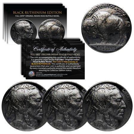 Lot of 3 Various Full Date BUFFALO NICKELS Coins - BLACK RUTHENIUM Indian -