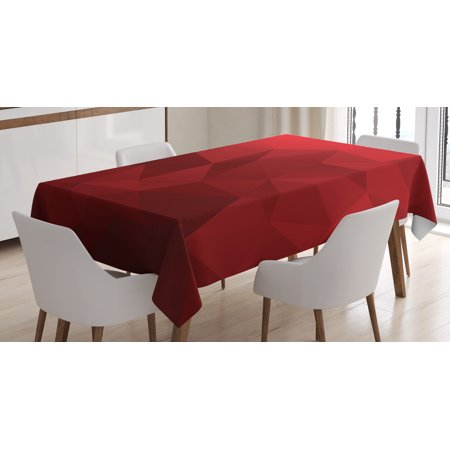 Red Tablecloth, Triangular Mosaic in Shades of Red with Low Poly Effect Geometric and Abstract, Rectangular Table Cover for Dining Room Kitchen, 60 X 84 Inches, Ruby Red Scarlet, by