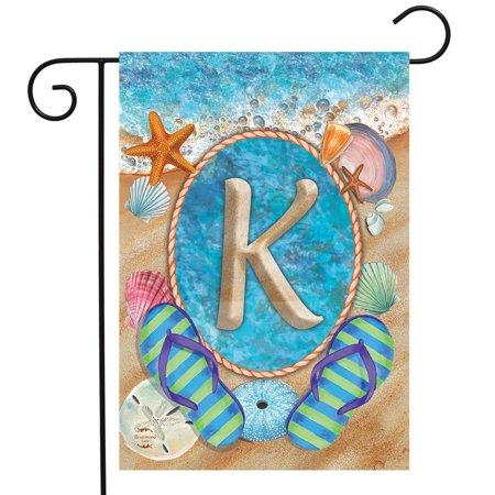 Summer Monogram Letter K Garden Flag Flip Flops Seashells 12.5