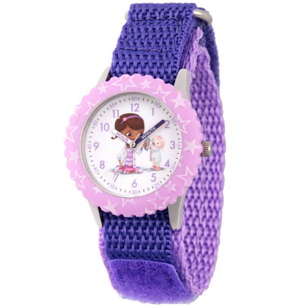 Doc Mcstuffins and Lambie Girls' Stainless Steel Time Teacher Watch, Purple Bezel, Purple Hook and Loop Nylon Strap