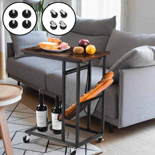 """19"""" C-Shaped Sofa Side Table with 4 Casters, 4 Foot Pads, Side"""