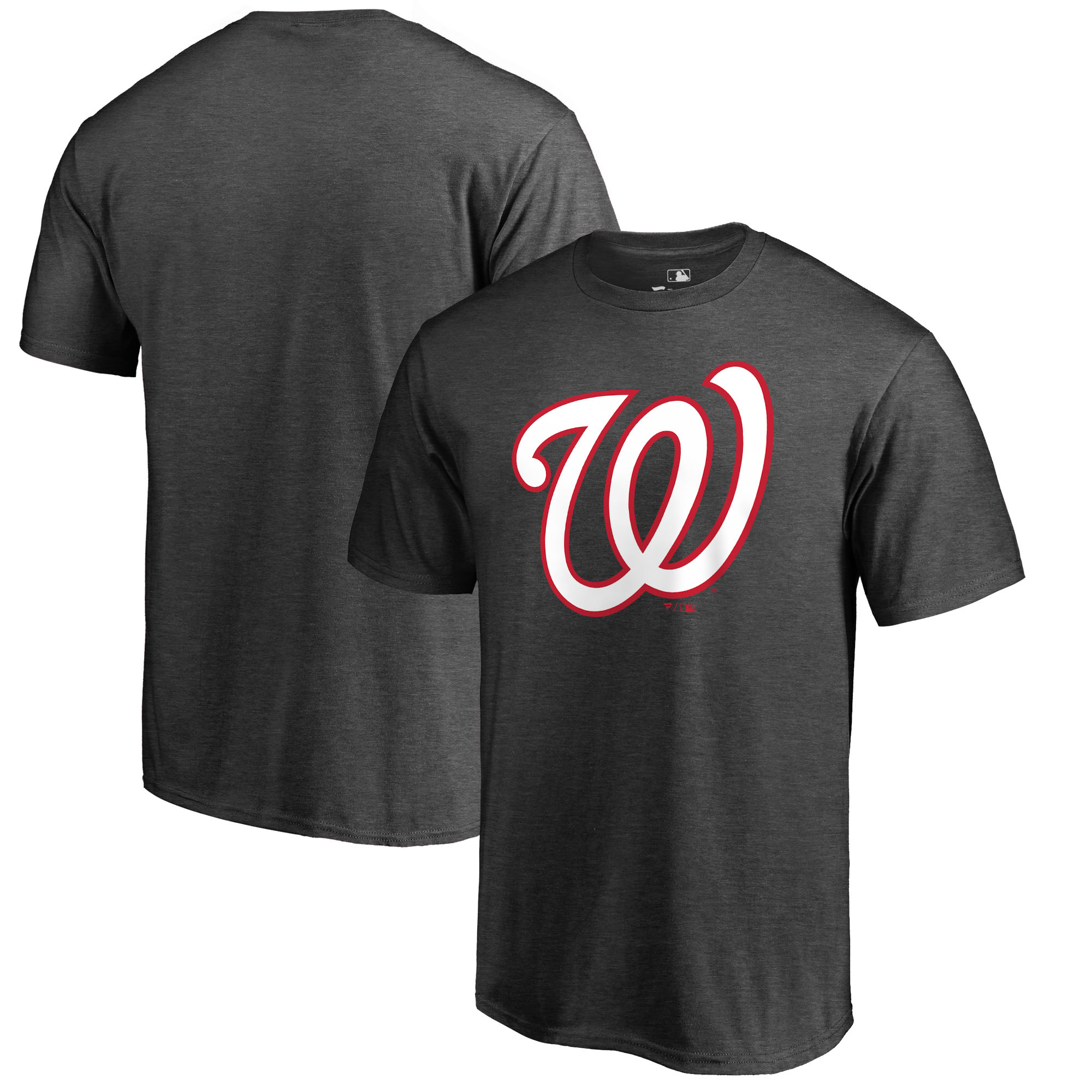 Washington Nationals Fanatics Branded Big & Tall Primary Logo T-Shirt - Heathered Charcoal