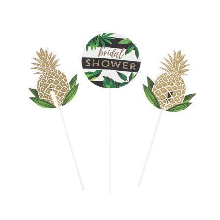 Fun Express - Bridal Shower Centerpiece Sticks 3pc for Wedding - Party Supplies - Serveware & Barware - Picks & Stirrers & Parasols - Wedding - 3 Pieces